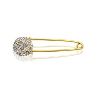 Bling Jewelry Crystal Disco Ball Holiday Safety Pin Brooch Gold Plated