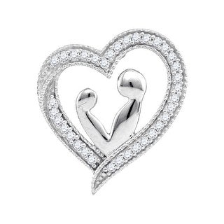 Mom and Baby Heart Pendant 10K White-gold With Diamonds 0.1 Ctw By MidwestJewellery - N/A