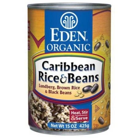 Eden Foods Caribbean Lundberg Brown Rice and Black Beans - Case of 12 - 15 oz.