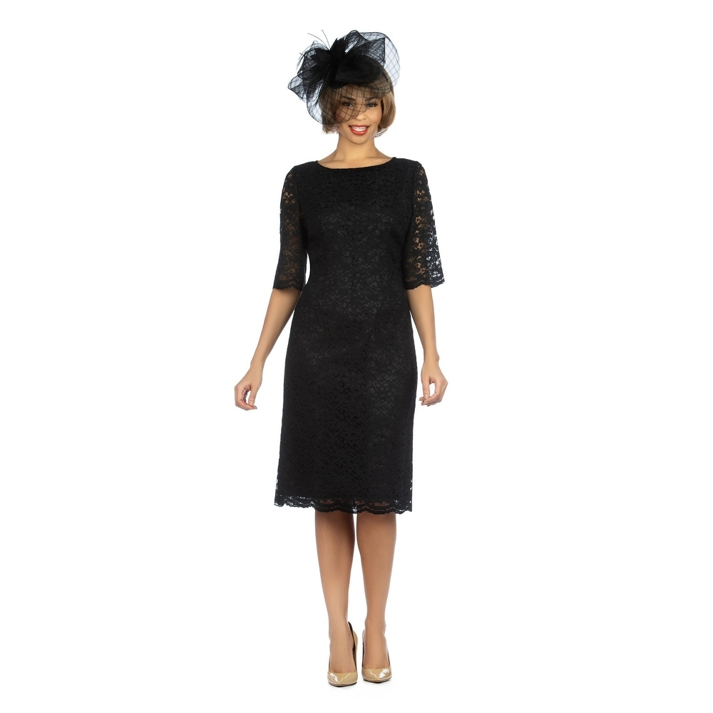 Giovanna Signature Elbow Length Sleeve Lace Shift Dress by  Reviews