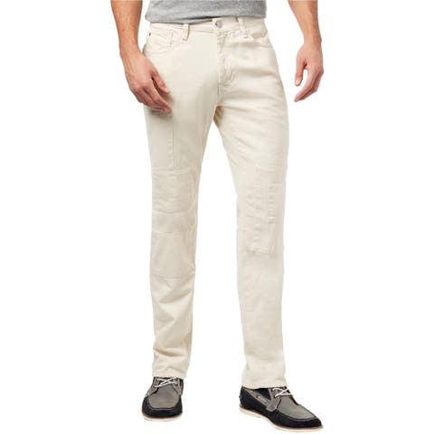 Tommy Hilfiger Mens Cali Patchwork Straight Leg Jeans, Off-white, 32W x 30L