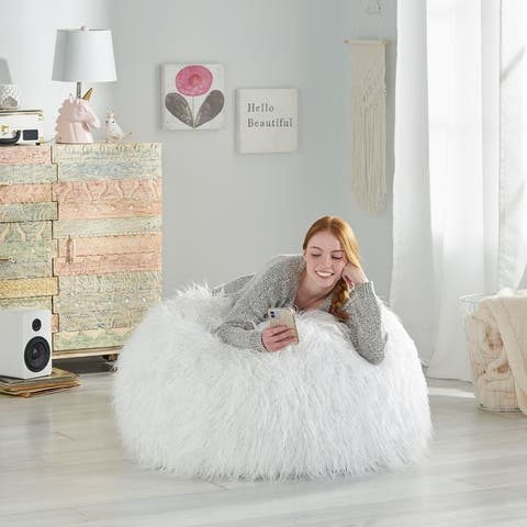Mosier Modern Glam Faux Fur Bean Bag by Christopher Knight Home
