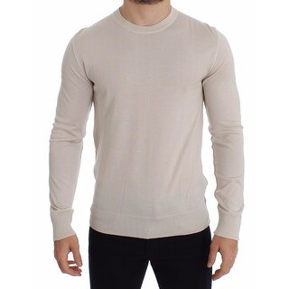 Dolce & Gabbana Dolce & Gabbana Cream Silk Cashmere Crew-neck Sweater Pullover