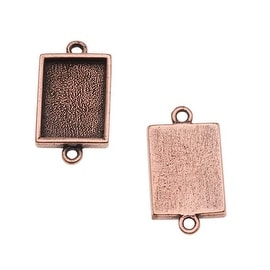 Nunn Design Antiqued Copper Plated Bezel Pendant Rectangle Link 14mm