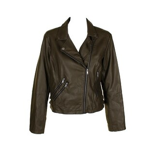 Coffeeshop Olive Green Silver Faux-Leather Buckled Moto Jacket XL