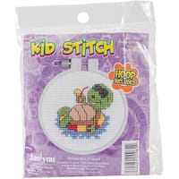 """Kid Stitch Floating Turtle Counted Cross Stitch Kit-3"""" Round 11 Count"""