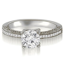 0.90 cttw. 14K White Gold Antique Milgrain Round Cut Diamond Engagement Ring