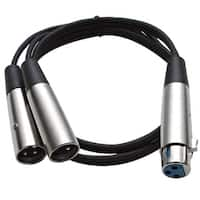 Seismic Audio  3' Splitter Patch Cable 1 XLR Female to 2 XLR Male