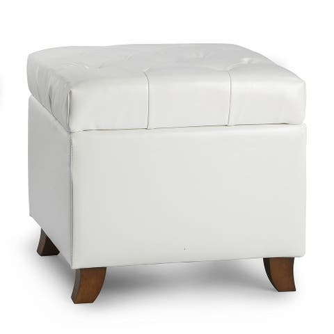 Enova Home Fair 18 Inches Modern Elegant Leather Square Storage Ottoman