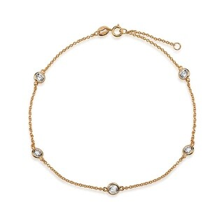 Bling Jewelry CZ by the Inch Rose Gold Plated 925 Silver CZ Anklet 9in - Pink