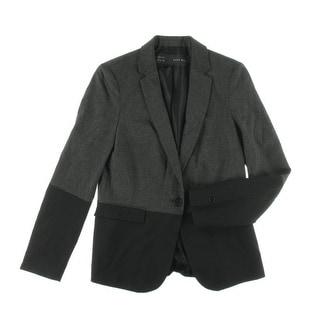 Zara Basic Womens Notch Collar Long Sleeve One-Button Blazer