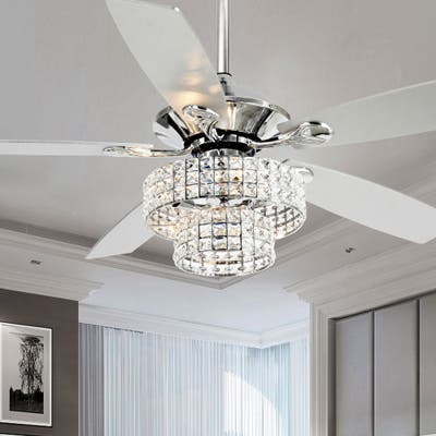 52-inch Chrome 4-light Crystal Shade Ceiling Fan - 52-in