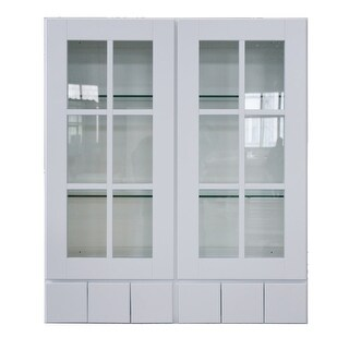 "Sunny Wood SHW3642GD6-A Shaker Hill 36"" x 42"" Wall Cabinet with Glass Doors and 6 Drawers - designer white - N/A"
