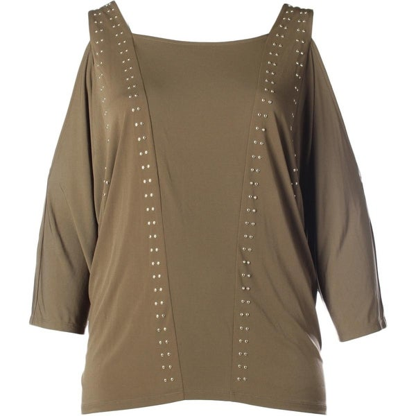 MICHAEL Michael Kors Womens Plus Pullover Top Jersey Studded