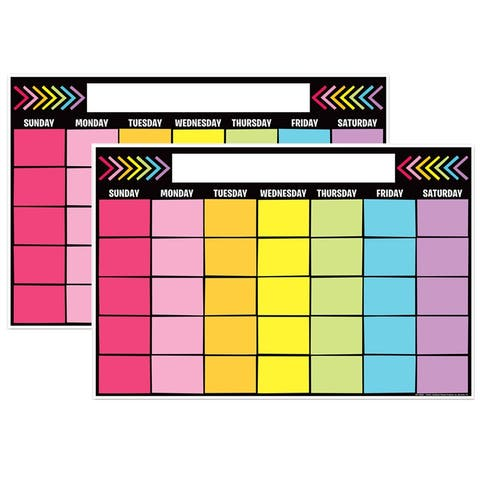 "Magnetic Write & Wipe Calendar Neon Black, 12"" x 18"", Pack of 2 - One Size"