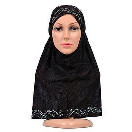 Muslim Zircon Scarf Kerchief Hat brown black