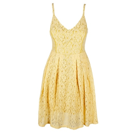 Guess Pastel Yellow Sleeveless V-Neck Lace Fit & Flare Dress 8