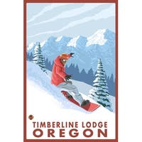Timberline Lodge OR Snowboarder Scene - LP Artwork (100% Cotton Towel Absorbent)