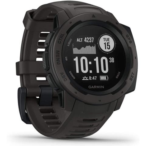Refurbished Garmin Instinct Graphite Rugged Outdoor GPS Watch w/ Long-Lasting Battery Life