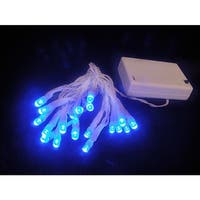Battery Operated Blue LED Wide Angle Christmas Lights - White Wire
