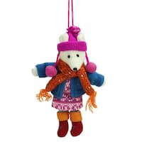 "6.25"" Bohemian Holiday Plush Polar Bear Girl with Dangling Legs Christmas Ornament - multi"