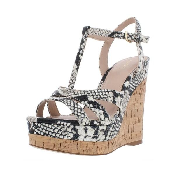 c13db9602f3 Shop Aldo Womens Nydaycia Wedge Sandals Faux Leather Platforms ...
