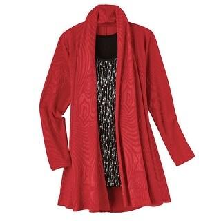Women's Fashion Jacket - Red Texture Jacket With Sparkle Tank Set