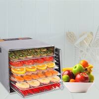 Costway 10 Tray Food Dehydrator Stainless Steel Fruit Jerky Dryer Blower Commercial - Sliver