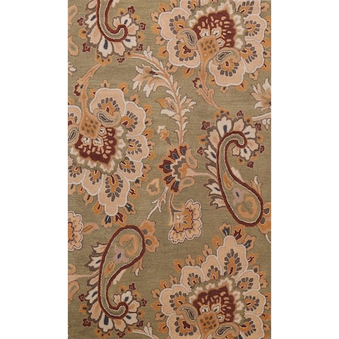 """Green Floral Paisley Oriental Wool Area Rug Hand-tufted Foyer Carpet - 5'0"""" x 8'0"""""""