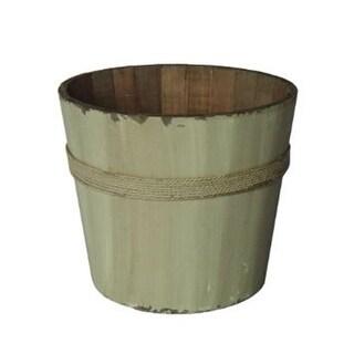 White Wooden Round Bucket, Weight - 1 Lbs.