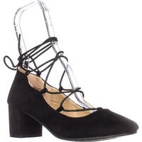Wanted Shoes Abby Lace Up Ankle Tie Chunky Heel Pumps, Black