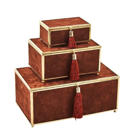 Adorning Velveteen Storage Boxes With Tassel, Brown, Set Of 3