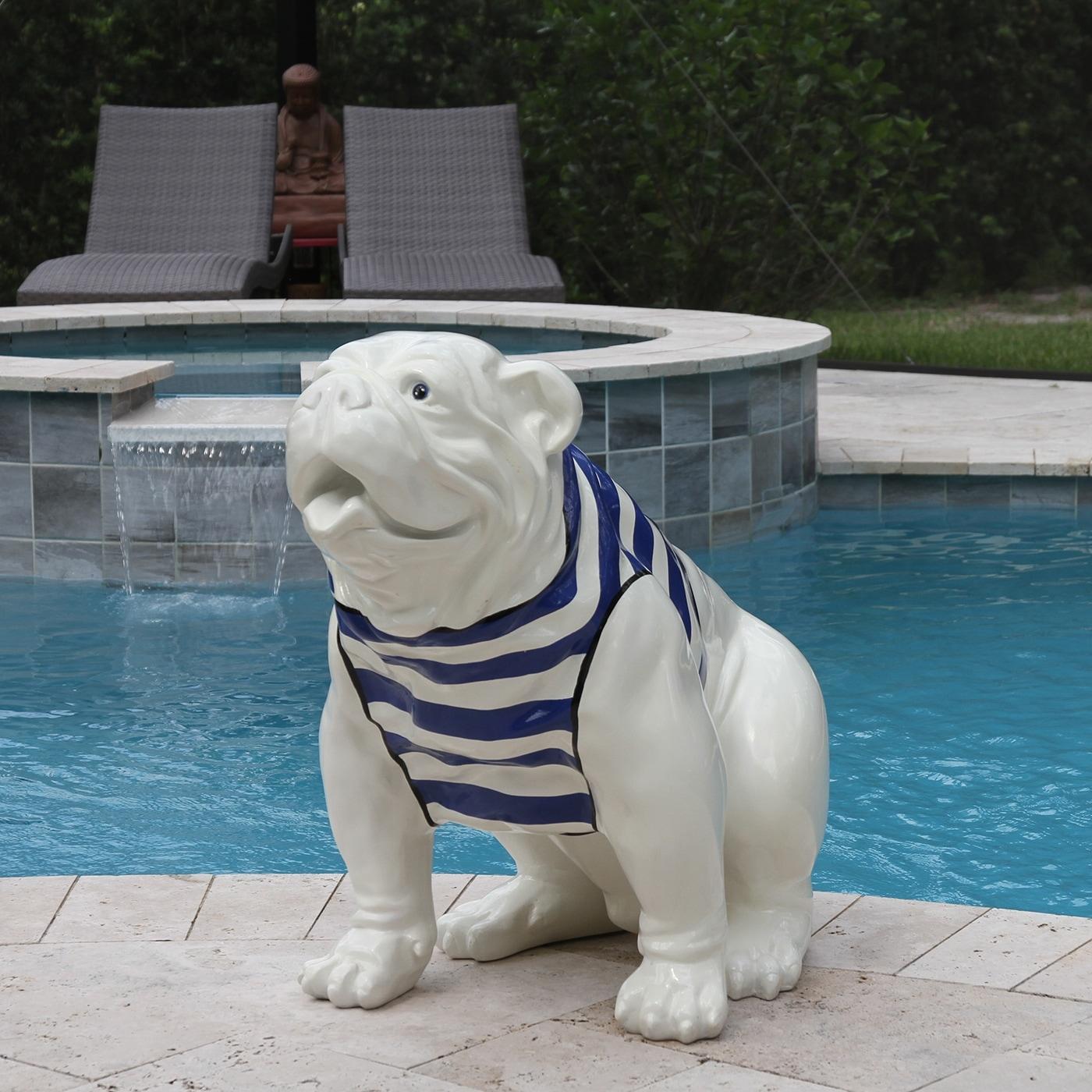 Seated English Bulldog Resin Statue White Blue Stripes 33 L X 17 W X 28 H Overstock 31567810