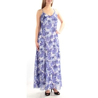 Womens Blue White Spaghetti Strap Maxi A-Line Casual Dress Size: 7