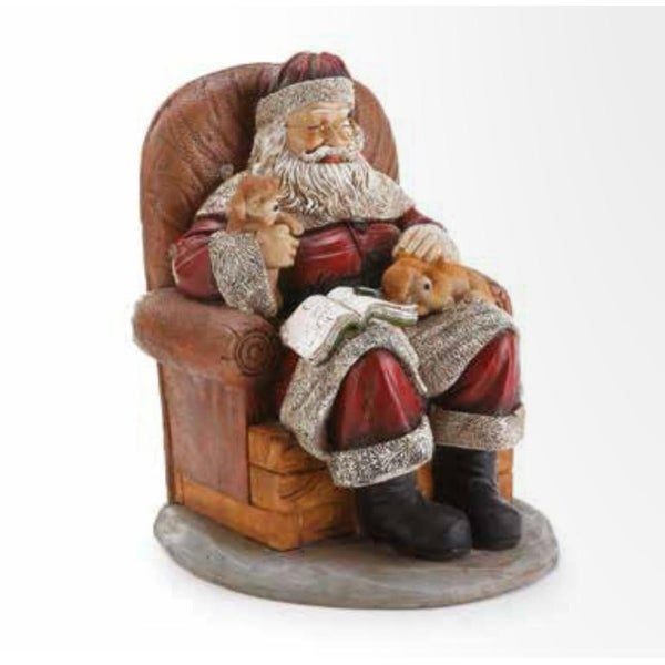"11.25"" Santa Claus Sitting in a Chair with Puppy Dogs Christmas Figure"