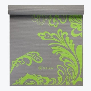 GAIAM Premium Citron Wave Printed Yoga Mats (3MM) Grey