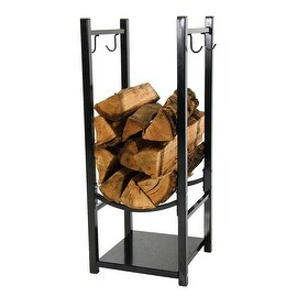 Sunnydaze Indoor/Outdoor Fireside Log Rack with Tool Holders, 13 Inch Wide x 32