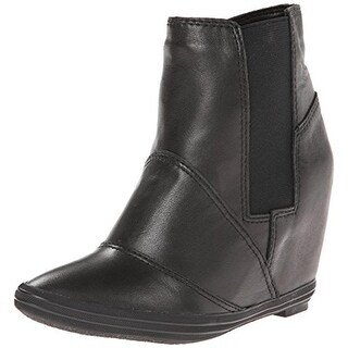 All Black Womens Wedge Boots Leather Ankle