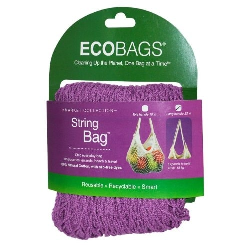 Eco-Bags Natural Cotton Long Handle String Bag, Raspberry, Raspberry