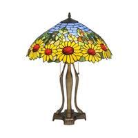 "Meyda Tiffany 119682 24"" H Wild Sunflower Table Lamp - purple/blue amber"