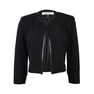 Kasper Women's Faux Leather Trim Textured Cropped Blazer