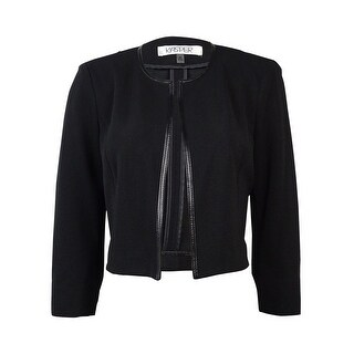 Kasper Women's Faux Leather Trim Textured Cropped Blazer