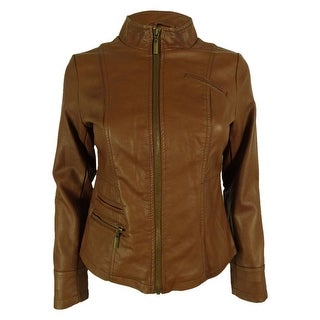 Alfani Women's Faux Leather Zip Up Jacket - petite