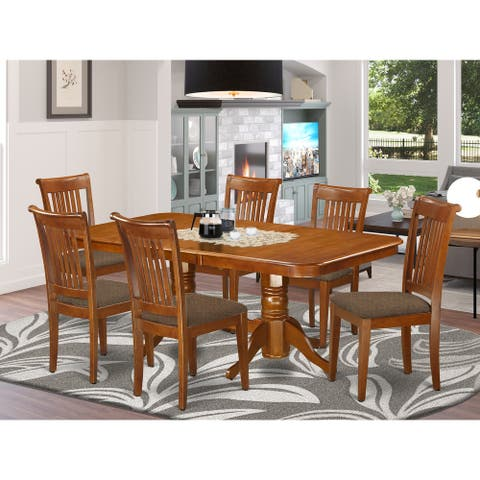 East West Furniture 7-PC Dining room set Table and 6 Chairs for Dining in Saddle Brown Finish (Pieces Option)