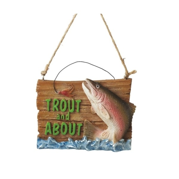 "3.25"" Trout and About Fishing Plaque Christmas Ornament"