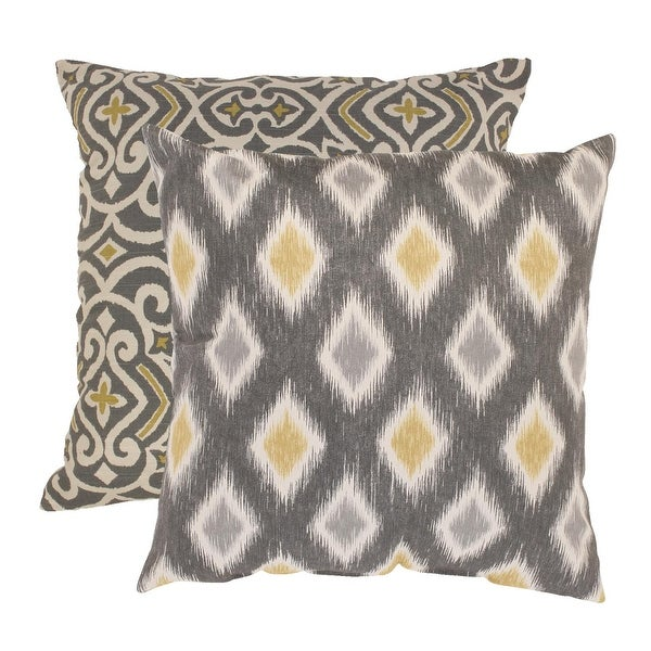 "2 Eco-Friendly Moroccan Flair Graphite & Chartreuse Throw Pillows 16.5"" x 16.5"""