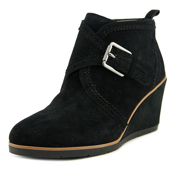 Franco Sarto Arielle Women  Open Toe Suede Black Wedge Heel