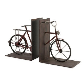 """Set of 2 Vintage Style Bicycle Crafted Wrought Iron Bookends 8"""""""