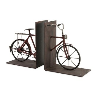 Set of 2 Vintage Style Bicycle Crafted Wrought Iron Bookends 8""