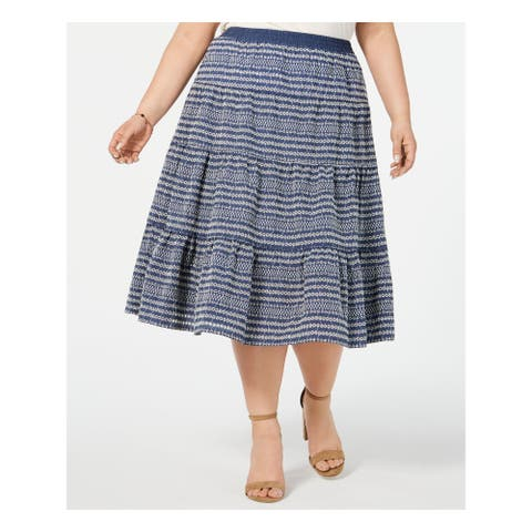 TOMMY HILFIGER Womens Blue Printed Midi Circle Skirt Size 0X